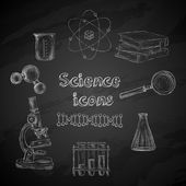 Science chalkboard icons — Stock Vector