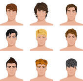 Different hairstyle men faces icons set — Stock Vector