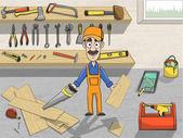 Happy carpenter character at work — Stock Vector