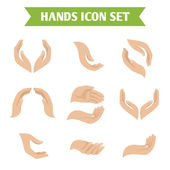 Hand hold protect icons — Vector de stock