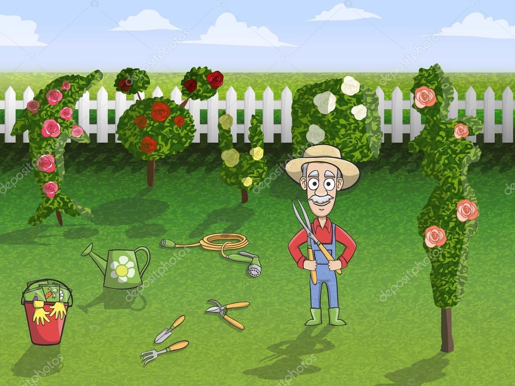 Car cter jardinero feliz en el trabajo archivo im genes for Trabajo jardinero