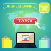 Buy now online shopping concept design — Stock Vector