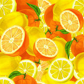 Citrus fruits seamless background — Stock Vector