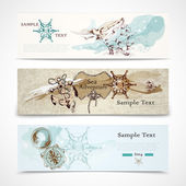 Sea horizontal nautical design banners set — Stock Vector
