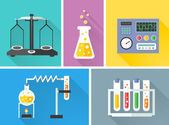 Laboratory equipment decorative icons set — Stock Vector