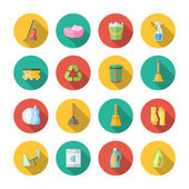 Cleaning Icons Flat Set — Stock Vector