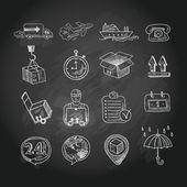 Set di icone consiglio logistico gesso — Vettoriale Stock