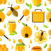 Honey seamless pattern — Stock Vector