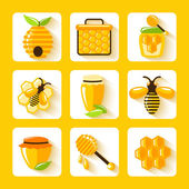 Honey Flat Icons Set — Stock Vector