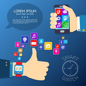 Smart watch synchro concept — Stock Vector
