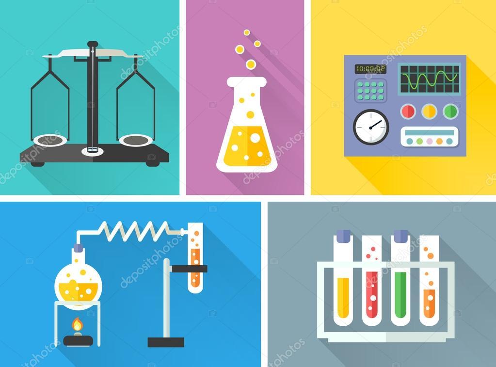 科学实验室设备装饰图标设置与瓶鳞片燃烧器分离矢量