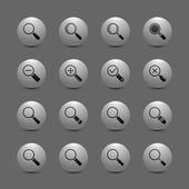 Magnify lens icon set — Stock Vector