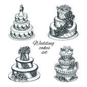 Wedding cakes set — Stock Vector
