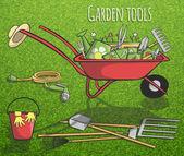 Garden tools concept poster — Stock Vector