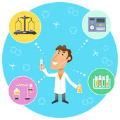 Scientist chemist in lab — Stock Vector