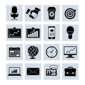 Business Icons Set Black — Stock Vector