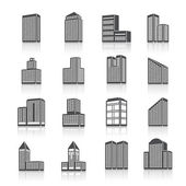 Edifice buildings icons set — Stock Vector