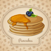 Pancakes with syrup poster — Stock Vector