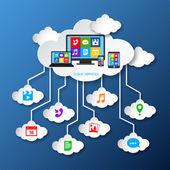 Mobile services cloud paper — Stock Vector