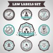 Law labels set — Stock Vector