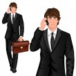Young businessman standing — Stock Vector #45049303