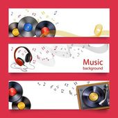 Vinyl record music banners — Stock Vector