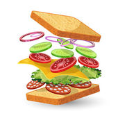 Salami sandwich ingredients emblem — Stock Vector