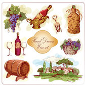 Wine colored icons set — Stock Vector