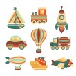 Transport Toys Icons Set — Vecteur