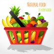 Fruits in shopping basket poster — Stock Vector #45196461