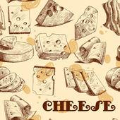 Cheese sketch seamless wallpaper — Stock Vector