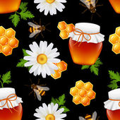 Honey seamless pattern — Stock Vector