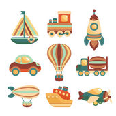 Transport Toys Icons Set — Stock Vector