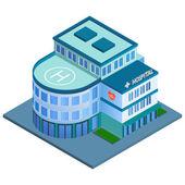 Hospital building isometric — Stock Vector