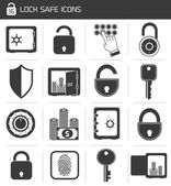 Lock Safe Icon Set — Stock Vector