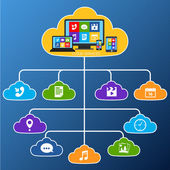 Mobile cloud services flat — Stock Vector