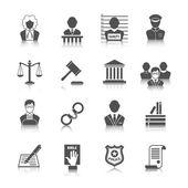 закон и изображения справедливости установлены — Cтоковый вектор