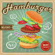 Hamburger retro poster — Stock Vector