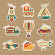 Transport toy stickers set — Stock Vector