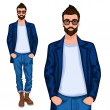 Hipster young guy — Stock Vector #45392609
