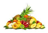 Tropical Fruits Set Still Life — Stock Vector