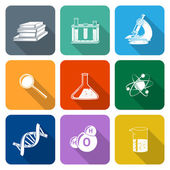 Science Icons Flat Set — Stock Vector