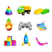 Kid Toys Icons Set — Stock Vector