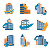 Urban Buildings Icons — Stock Vector