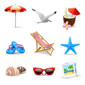 Realistic Summer Vacation Icons — Stock Vector