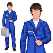 Junger Mann Mechaniker — Stockvektor