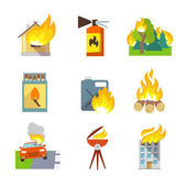 Fire Protection Icons — Stock Vector