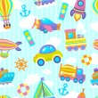 Transport toy seamless pattern — Stock Vector