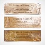 Science sketch vintage banners — Stock Vector