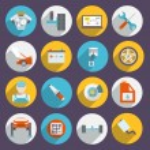 Auto Service Icons Flat — Stock Vector